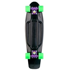 Penny Skateboards Nickel Complete Skateboard - Black Deck - Purple Trucks - Green Wheels