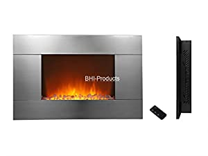 """Electric Wall Mount Fireplace 36"""" Glass w/Remote Control Stainless Steel Panel Heater BHI-550DP"""