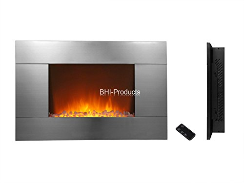 Electric Wall Mount Fireplace 36 Glass W Remote Control Stainless Steel Panel Heater Bhi 550dp