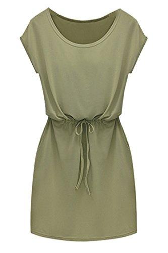 Finejo Womens Solid Tunic Sleeveless Casual Beach Chiffon Dresses