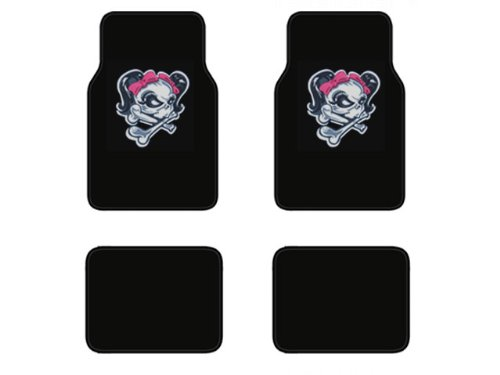 A Set of 4 Universal Fit Plush Carpet Floor Mats For Cars / Trucks - Lady Skull with Pink Bow Tie