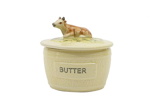 Creative Co-op DA4916 Round Vintage Reproduction Stoneware Butter Dish with Cow, Multicolor (Butter And Sugar Dish compare prices)