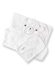3 Piece Pure Cotton Hooded Towel & Mittens Set