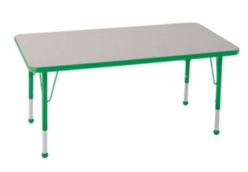 """Ecr4Kids 30""""X48"""" Rectangular Height Adjustable Activity Table Gray With Toddler Ball Glide Legs Green front-883206"""