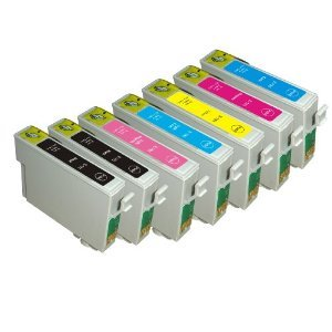 7 Pack Epson Ink Cartridges for Epson Stylus Photo R260, R280, R380, RX580, RX595, RX680, Artisan 50 (T078- BK, C, M, Y, LC, LM)