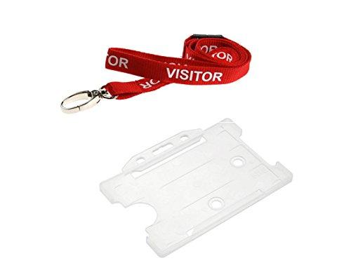 """ID Card IT - Cordino da collo con scritta """"Visitor"""" e porta badge trasparente"""