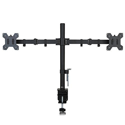 "WALI Dual LCD Monitor Desk Mount Stand Fully Adjustable Fits Two Screens 10- 27"", Full Motion, Tilt, Swivel, Rotate, 22 lbs Capacity, C-Clamp Base and Optional Grommet Base (WL-M002)"