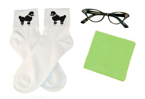 Hip Hop 50S Shop Adult 3 Piece Accessories - Adult Size Lime Green Glasses, Socks And Scarf