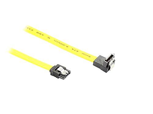 kabelmeister® SATA 6 Gb/s Anschlusskabel mit Metallclip, gewinkelt, 0,30m, gelb
