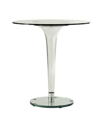 LeisureMod Lonia Modern Glass Accent Dining Table, Clear