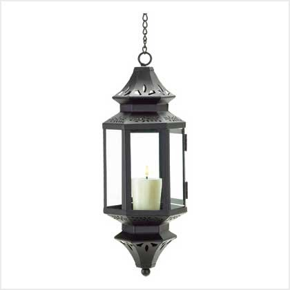 B00158DQRK Gifts & Decor Hanging Moroccan Lantern Glass Outdoor Candleholder