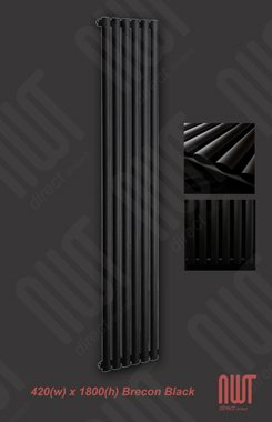 420 x 1800 Brecon Designer Radiator - Black / Vertical Central Heating Radiator 3305 BTU's