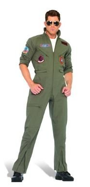 Aviateur Aviator Top Gun Deluxe Fight Pilot Jumpsuit Costume Fancy Dress Outfit Halloween Carnival (Medium Size- A Model)