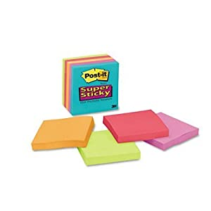 "3M Post-it Super Sticky Lined Notes, 3""x3"" (MMM6545SSMB) Category: Self-Stick Notes and Dispensers"