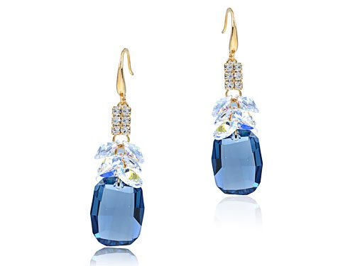 Large Sapphire Swarovski Stone Under Ab Crystal Dangle Gold Tone Dangle Earrings