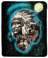 Fleece Blanket Wolves amp Native American 50quot X 60quot