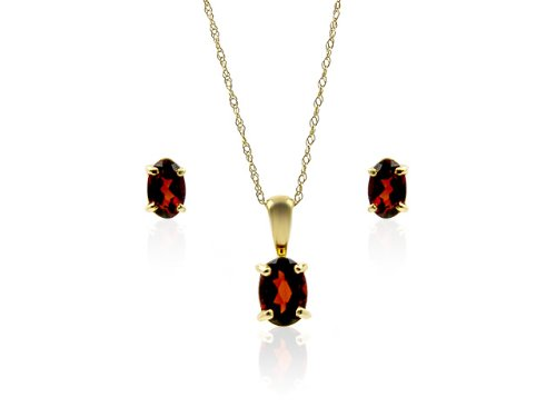 9ct Yellow Gold Garnet Earrings and Pendant Set + 46cm Prince of Wales Chain