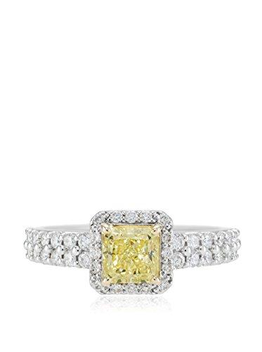 Bouquet 1-5/8 Carat Fancy Yellow Radiant Diamond/18K White Gold Ring