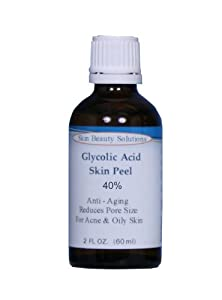 (2 oz / 60 ml) GLYCOLIC Acid 40% Skin Chemical Peel - Unbuffered - Alpha Hydroxy (AHA) For Acne, Oily Skin, Wrinkles, Blackheads, Large Pores & More (from Skin Beauty Solutions) by Skin Beauty Solutions