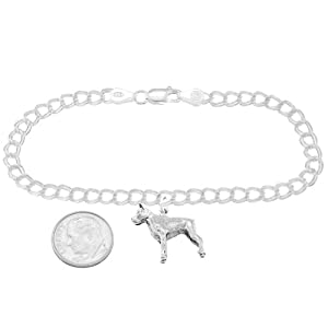 Sterling Silver Boxer Dog on 4mm Charm Bracelet