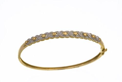 Ladies' Diamond Bangle, 9ct Yellow Gold, Illusion Setting 0.25 Carat Diamond Weight, Model PBC2336