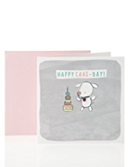 Cute Bear with Cake Birthday Card