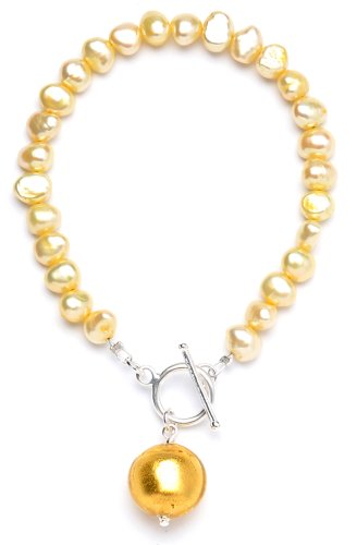 Amanti Venezia Yellow Freshwater Pearl and Gold Genuine Murano Drop Bracelet with T-Bar of 20cm