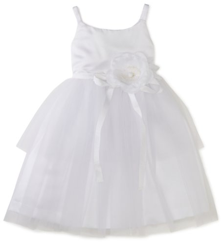 Us Angels Girls 2-6x Toddler Ballerina Inspired Dress, White, 3T