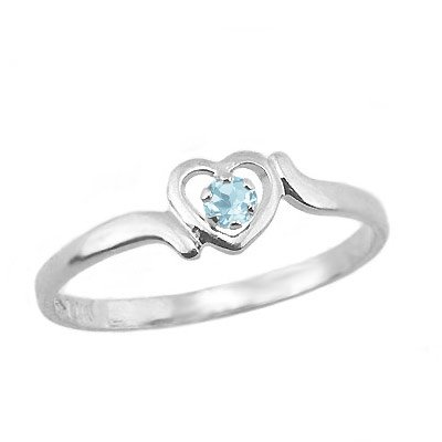 14K White Gold Teens Genuine March Birthstone