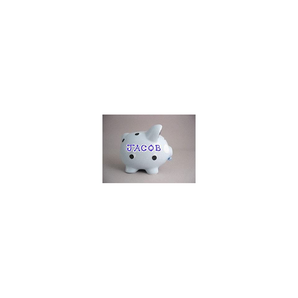 Personalized ceramic piggy bank   blue with brown polka