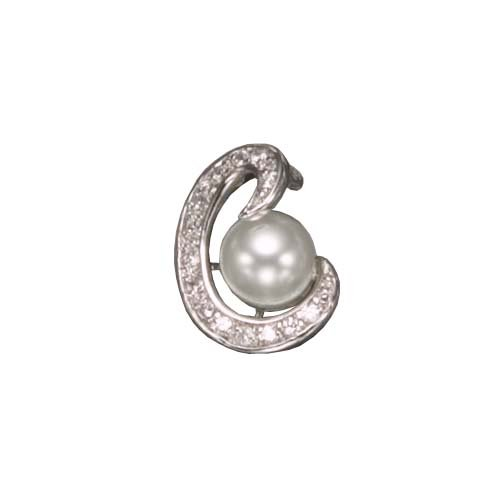 C.Z. AND PEARL RHODIUM PLATED (.925) STERLING SILVER PENDENT (Nice Holiday Gift, Special Black Firday Sale)