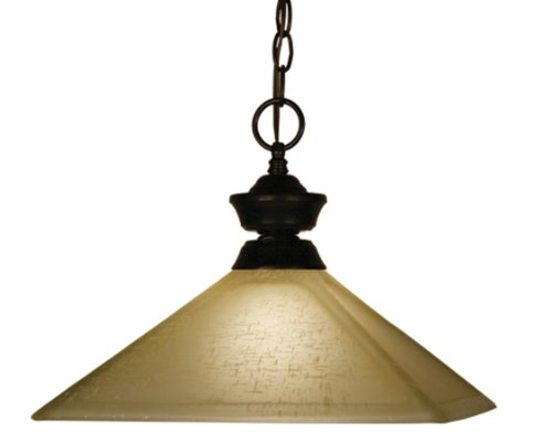 Z-Lite 100701Brz-Mgl13 One Light Pendant, Metal Frame, Bronze Finish And Golden Linen Shade Of Glass Material front-78694