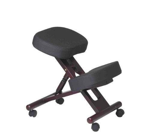 Office Star Ergonomically Designed Mahogany Finished Wood Knee Chair with Casters
