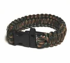 "Forest Camo 9"" / 23CM Survival Paracord Bracelet with Buckle Whistle - 550 Military Spec Para-Cord Outdoor Rope"