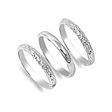 "buy 9Mm Modern ""3 Three Bands Diamond Cut"" Plain High Polished Cool Hip Chic Contemporary Style Finger, Thumb Ring Size 6-10"