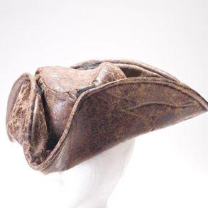 Brown Leatherette Tri-fold Pirate Hat Costume Accessory