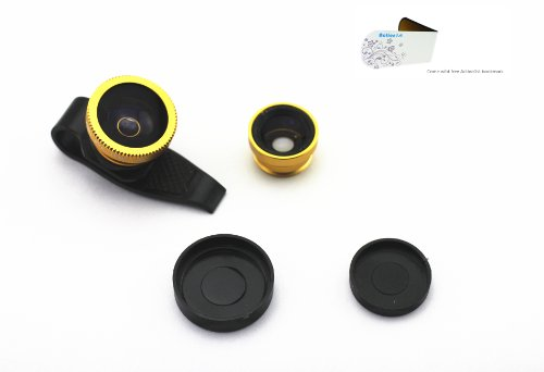 Action1St 3-In-1 Universal Clip On Detachable Wide Angle+Macro+Fish-Eye Lenses Kit For Iphone 4 4S 4G 5 5G 5S 5C Samsung Galaxy S2 I9100 S3 I9300 S4 I9500 Note1/2/3,Blackberry (Golden)
