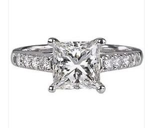 finediamondsrus Princess Cut Solitaire & Round Diamonds Engagement Ring in White Gold,EGL Certified