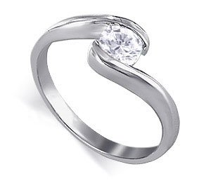 Sterling Silver Round Shaped 5mm Clear Cubic Zirconia Solitaire Polished Finish 3mm Wide Band Promise Ring Size 7