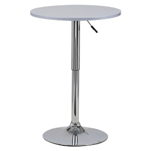 Bartisch-Bistrotisch-1x-Silber-verchromter-Stahl-und-MDF-hhenverstellbarer-Tisch-BT02sb