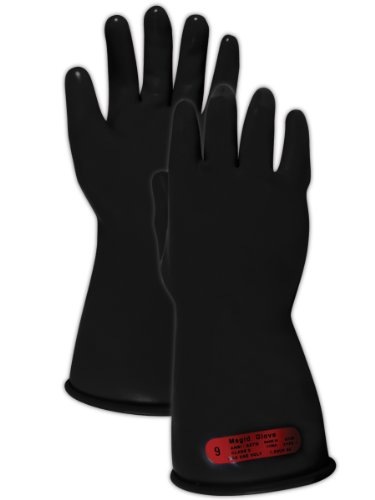 "Magid M011B A.R.C. Natural Rubber Latex Class 0 Insulating Glove With Straight Cuff, Work, 11"" Length, Size 8, Black (1 Pair)"