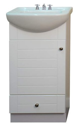 Small bathroom vanity cabinet and sink white pe1612w new petite vanity 0804595000021 buy Used bathroom vanity with sink