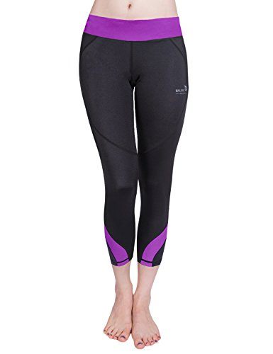 Baleaf Women's Workout Running Capri Leggings Purple Size S
