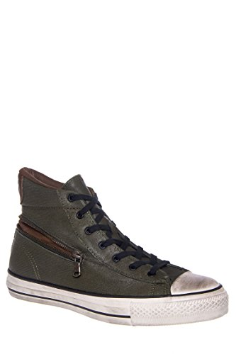 Men's All Star Zip Scratched Leather High Top Sneaker