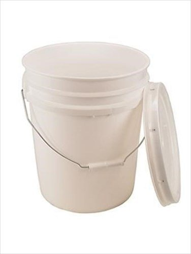 5 Gallon White Bucket & Lid - Set of 1 - Durable 90 Mil All Purpose Pail - Food Grade - BPA Free Plastic