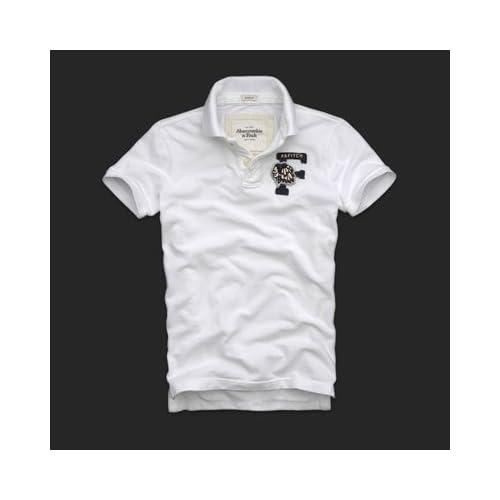 Abercrombie & Fitch メンズ 半袖 ポロシャツ 鹿の子 [ホワイト] 並行輸入品