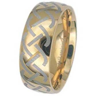 8MM Gold Plated Stainless Steel Ring with Celtic Design