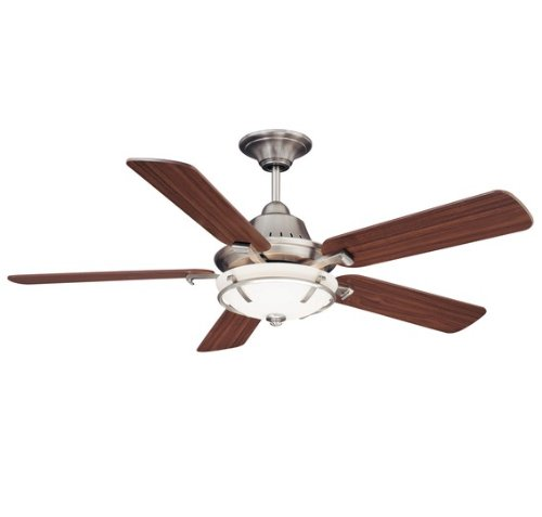 Savoy House 52P-620-5WA-SN Big Canoe 52-Inch Ceiling Fan, Satin Nickel Finish with Walnut Blades and White Opal Etched Glass Light Kit