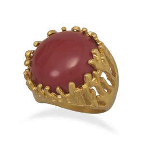Gold Plated Brass Red Coral Fashion Ring / Size 8