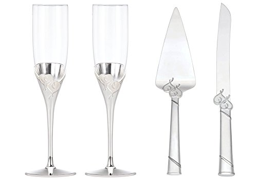 Lenox True Love Champagne Glasses Set of 2 with 2-Piece Dessert Set